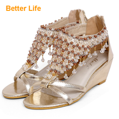Ladies Heels Shiny Pendant Women's Wedges Shoes Beaded Mid-heeled Ethnic Style Golden 35