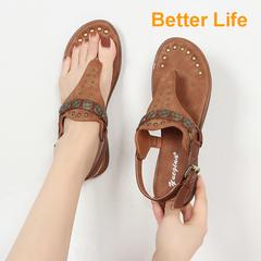 Roman Rvet Clip Toe Sandals Flat Buckle Retro Soft Comfortable Women's Shoes Brown 35