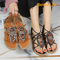 Roman Metal Buckle Bohemian Ethnic Flat Beaded Toe Strappy Sandals Women's Shoes Brown 35