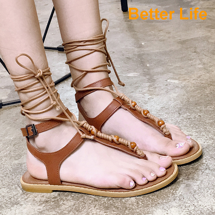 Ethnic Soft Tali Sandal Ladies Strap-on Strappy Toe Flat Women's Strap Sandals Open Shoes for Party Brown 35