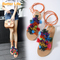 Strappy Sandals Korea Tassel Ball Soft Flat Heel Strap Toe Shoes Long Tail Lace-up Party Open Shoes Orange 35