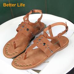 Massai Roman Rivet Thong Toe Sandals Casual Retro Flat Women's Open Shoes Brown 35