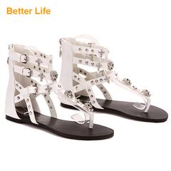Massai Strappy Sandals Buckle Zip Flat Women's Shoes Tong Toe Metal Shining White 35