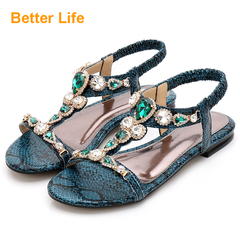 Ladies Fashion Rhinestone Print Casual Sandals,Women's comfort party shoes Business Formal Suit Green 35