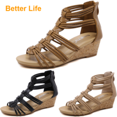Maasai Sandals Soft Roman Wedges Peep Toe Heels Sandals Causal Suit Open Shoes Lace-up Platform Brown 42