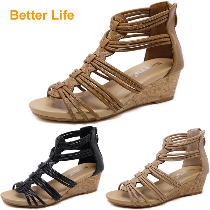 Maasai Sandals Soft Roman Wedges Peep Toe Heels Sandals Causal Suit Open Shoes Lace-up Platform Brown 42