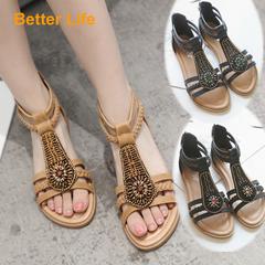 Strappy Gemstone Beading Maasai Sandals Zipper Flat Heel Shoes Women's Dinner Dress Shoes Apricot 35