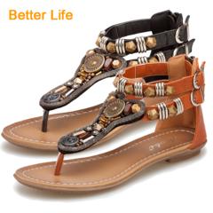 Maasai Sandals Roman Shoes Flat Pin Low Heel Beaded Female Flip Flops Soft Leather Flippers Brown 35