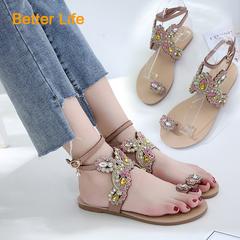 Women's  Buckle Sandals Toe Pinch Rhinestone Lace-up Tassel Flat Heel Shoes Apricot 35