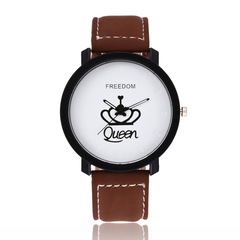 New Couples Watch King & Queen Leather Quartz  Mens Ladies Fashion Sport Clock Men's  Women's  Gifts King Brown White onesize