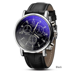Fashion Leather Mens Quarts Watches Blue Ray Men Wrist Watch 2019 Top Brand Luxury Casual  Clock Black onesize