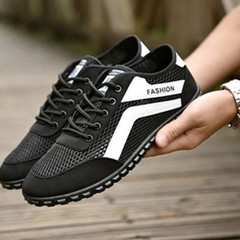 shoes 1 pair sports casual rubber  male light breathable new comfortable men shoe balck 39