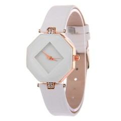 Women Watches Gem Cut Geometry Crystal Leather Quartz Wristwatch  Dress Watch Ladies Gifts Clock white onesize