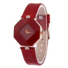Women Watches Gem Cut Geometry Crystal Leather Quartz Wristwatch  Dress Watch Ladies Gifts Clock black onesize