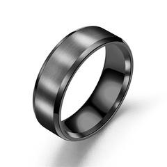 European and American Simple Male  Female Women Men Ring Stainless Steel Matte balck 6