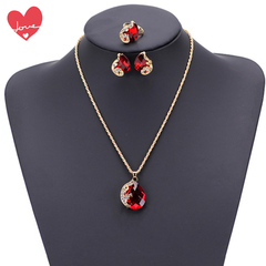 Necklace Ring Earrings Three-piece Set Choker Engagement Rings Wedding Stud Earring Jewelry Women red onesize