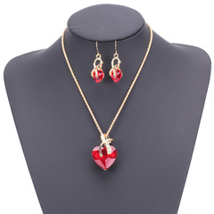 Necklace  Earrings Two-piece Set Choker Stud Earring Jewelry Women Lady Valentine's Day Gift red onesize
