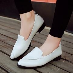 Leather Shoes For Women Ladies Female Casual Artificial Heel Newest Fashion Hot Non-slip Shoe white 35