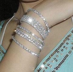 Bracelet For Women Ladies Female Fashion Retro Vintage Noble Exquisite Rhinestone Shining Bracelets silver onesize