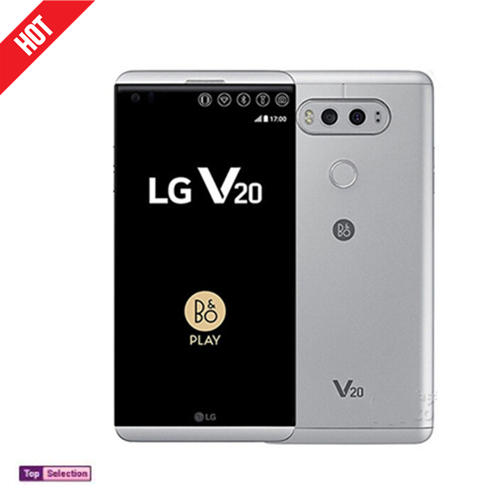 Smartphone LG V20 ROM 64GB Ram 4GB Cellphone Phonese Phone 16MP Protector Back Cover Gift silver  64g