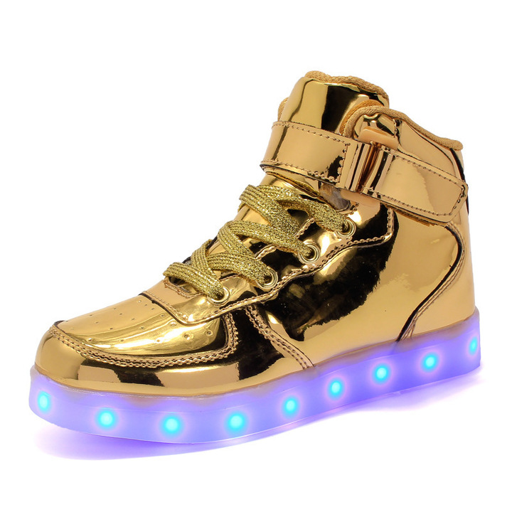 Children Led Gleamy Shoes Boys Girls High Board Shoes mirror gold 26