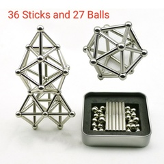 Magnetic Building Blocks Magnet Construction Set Puzzle Toys with Magnet Stick and Silver Ball silver as shown