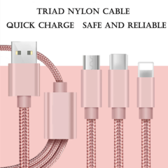 3 In 1 Nylon High Speed Transmission Data Cable for Micro USB/Type-C/IPhone IOS rose golden 1.2m