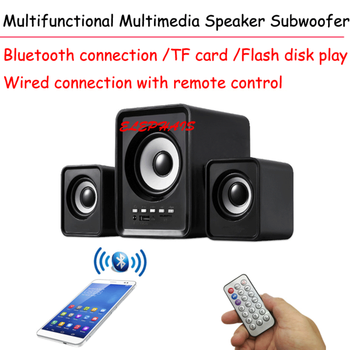 Multimedia Speaker mini Subwoofer System Bluetooth USB TF-Card FM Radio black 5w+2w*2(rms) one model