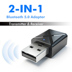 Bluetooth 5.0 Transmitter Receiver Mini 3.5mm AUX Stereo Wireless Bluetooth Adapter For Car  For TV black 17*8.5*32mm