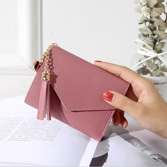 2019 New Korean Style Women Wallet Tassel Pendant Clip Card Purse Premium PU Wallet Dark pink One size