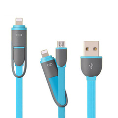 USB Data Cable Micro Lightning Two in One For Iphone Android Mobile Phone USB Cable With Case Blue 1M
