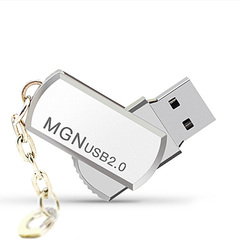 USB2.0 Flash Drive 32G 16G 8G Portable Usb Flash Disk Large Capacity Memory Rotatable Silver One size 16G