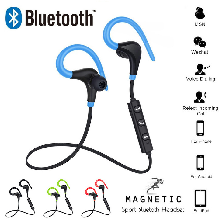Bluetooth Earphone Wireless Sports Neckband Headset Auricular Stereo Headphones Compatible blue