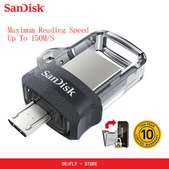 Sandisk original Mini USB 3.0 Dual OTG USB Flash Drive 32GB 64GB 128GB PenDrives for Android phone silver 3.0usb 32gb