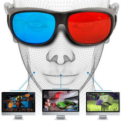 3D Glasses Universal White Frame Red Blue Anaglyph 3D Glasses For Movie Game DVD Video TV red+blue one size one size