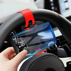 Universal Car Holder Mini Steering Wheel Clip Mount Cell Phone Mobile Holder Red one size