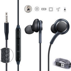 3.5mm In-ear Earphones wired Bass Earbud stereo Headset Whit Mic For Sumsung Huawei Oppo Android black
