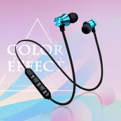 Magnetic Bluetooth Earphone V4.2 Stereo Sports Waterproof Earbuds Wireless in-ear Headset with Mic Blue