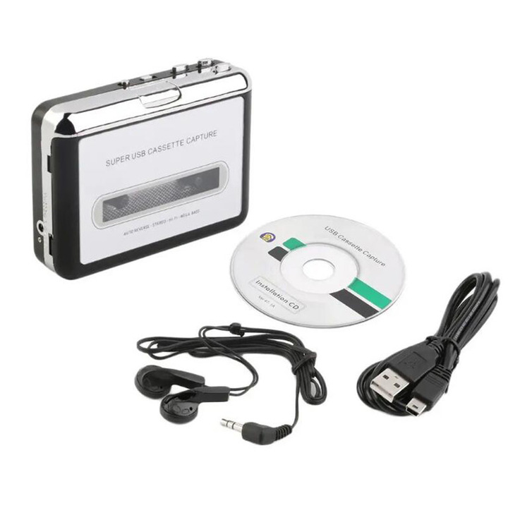 Cassette Player Tape To MP3 Converter Audio Music Player silver