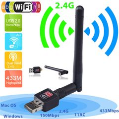 Wireless USB WiFi Adapter Network w/Antenna 802.11AC Dual Band 2.4/5Ghz Black