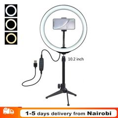 10.2 inch Dimmable LED Ring Vlogging Selfie Photography Video Lights For Youtube Live Fill Light Black 10.2 inch light + tripod