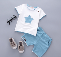 The new cotton pentagram summer baby boys The light blue 80cm Pure cotton
