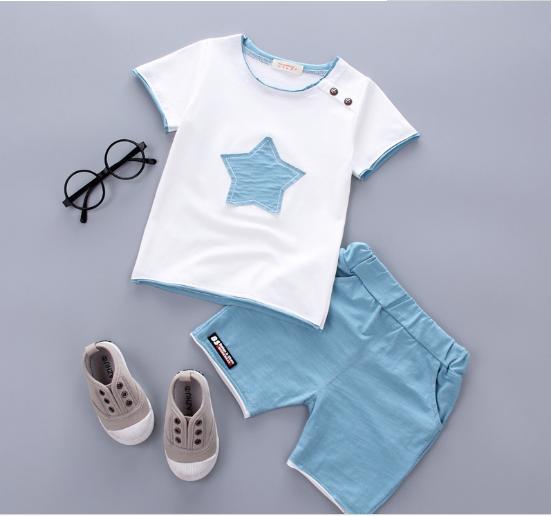 The new cotton pentagram summer baby boys The light blue 80cm Pure cotton