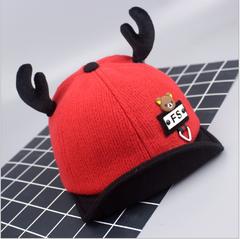 Baseball cap girls antlers children's hat red 45-50cm