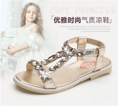 New girls sandals diamond princess shoes soft bottom anti-slip children beach shoes golden FR35(22.2CM)