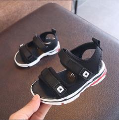 Children's sandals, soft bottom boy portable beach shoes toddlers black 21M