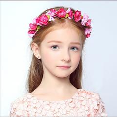 Children's headdress flower wreath bridesmaid simulation flower seaside holiday decorations A rose red