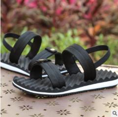 Men's outdoor sandals slippers recreational breathable elastic rubber non-slip belt cooler black 40