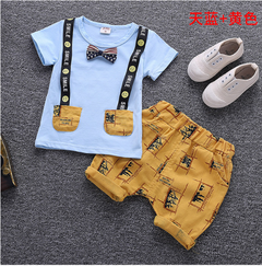 Children's wear the new summer two-piece cotton infant children summer wear thin model Blue + yellow 80 cm