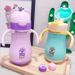 Children drinking cup with straw cup stainless steel vacuum cup in infants pink As shown in figure